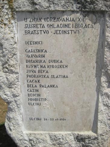 Spomenik s napisi udeležencev akcije